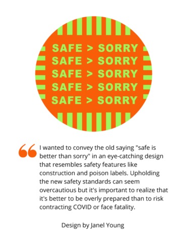 """Image shows bright green text with the words """"Safe > Sorry"""" over an orange background"""