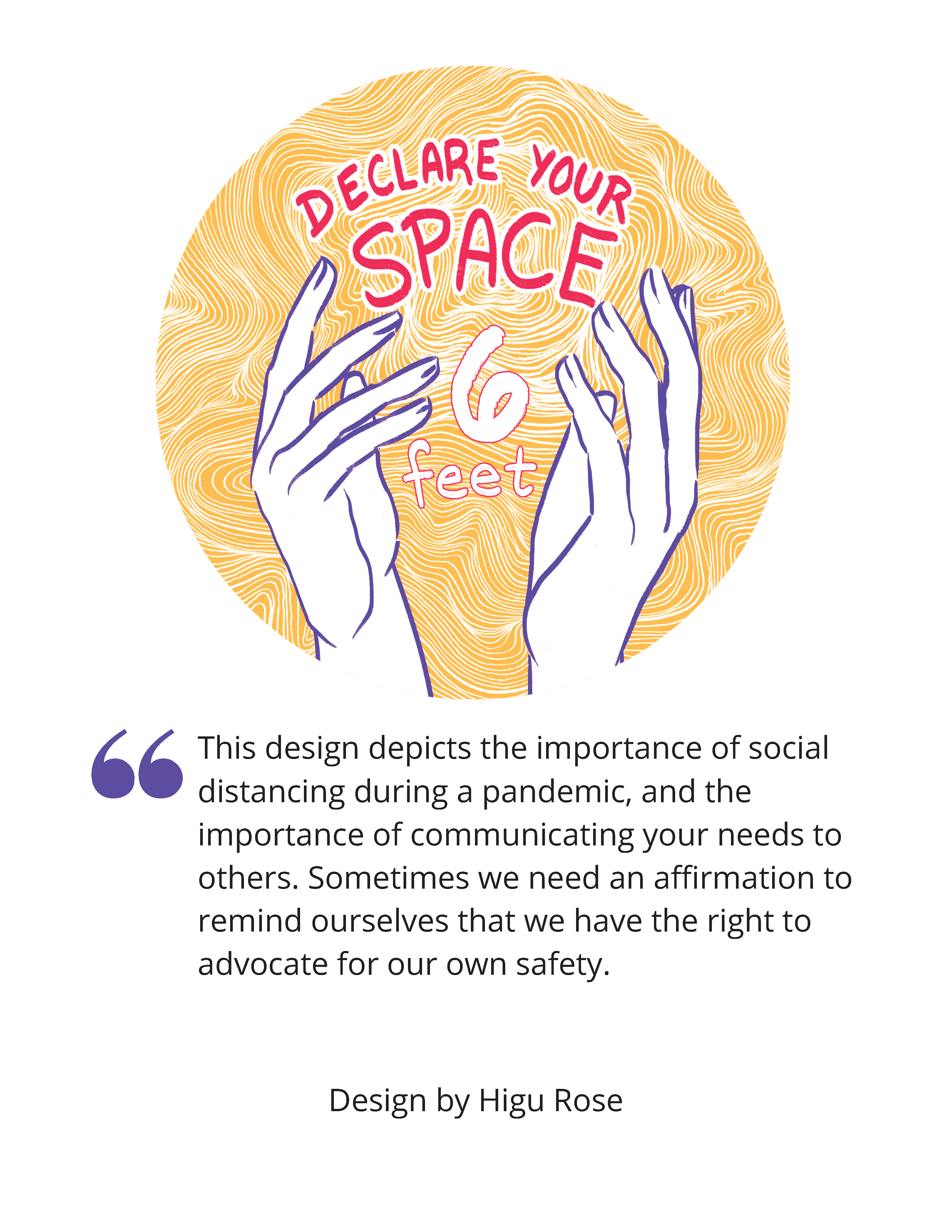 """Image shows a yellow background with white waves, and two hands illustrated in the center. Between the hands, the text """"Declare your Space - 6 Feet"""" appears."""