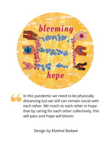 """Image shows six pairs of hands in a grid, holding a flower blossom, all connected with a line of flowers. The words """"Blooming Hope"""" appear above and below the image."""